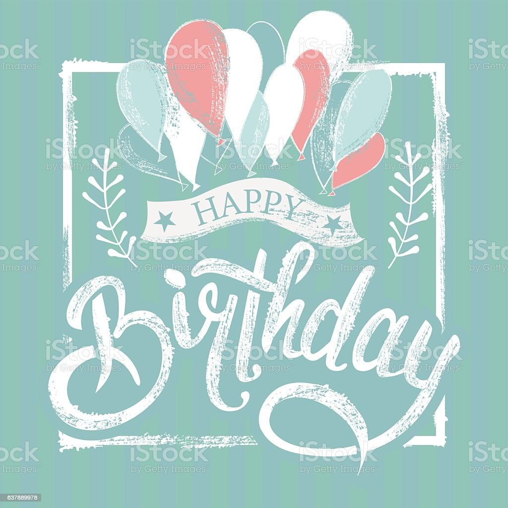 birthday lettering symbol vector art illustration
