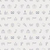 Birthday line icon pattern set