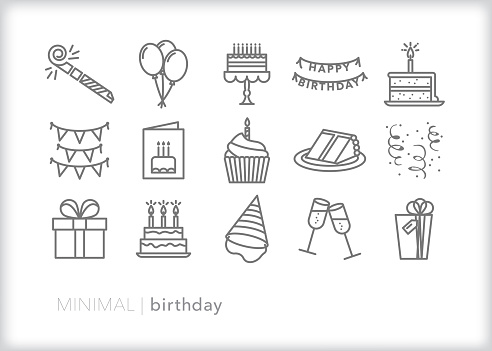 Birthday line icons for celebrating another year with a party, cake, card and balloons