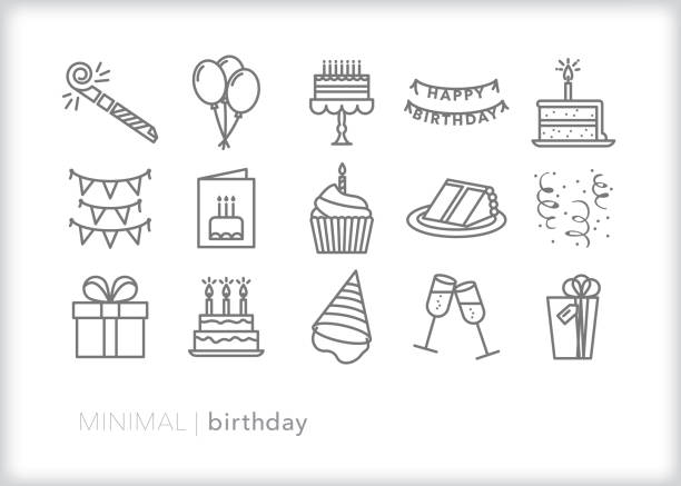 Birthday line icons for celebrating another year with a party, cake, card and balloons Set of 15 birthday line icons of items for a party including a noisemaker, balloons, cake, cake stand, slice of cake, cupcake, candle, confetti, banner, card, present, birthday hat, and champagne glasses birthday icons stock illustrations