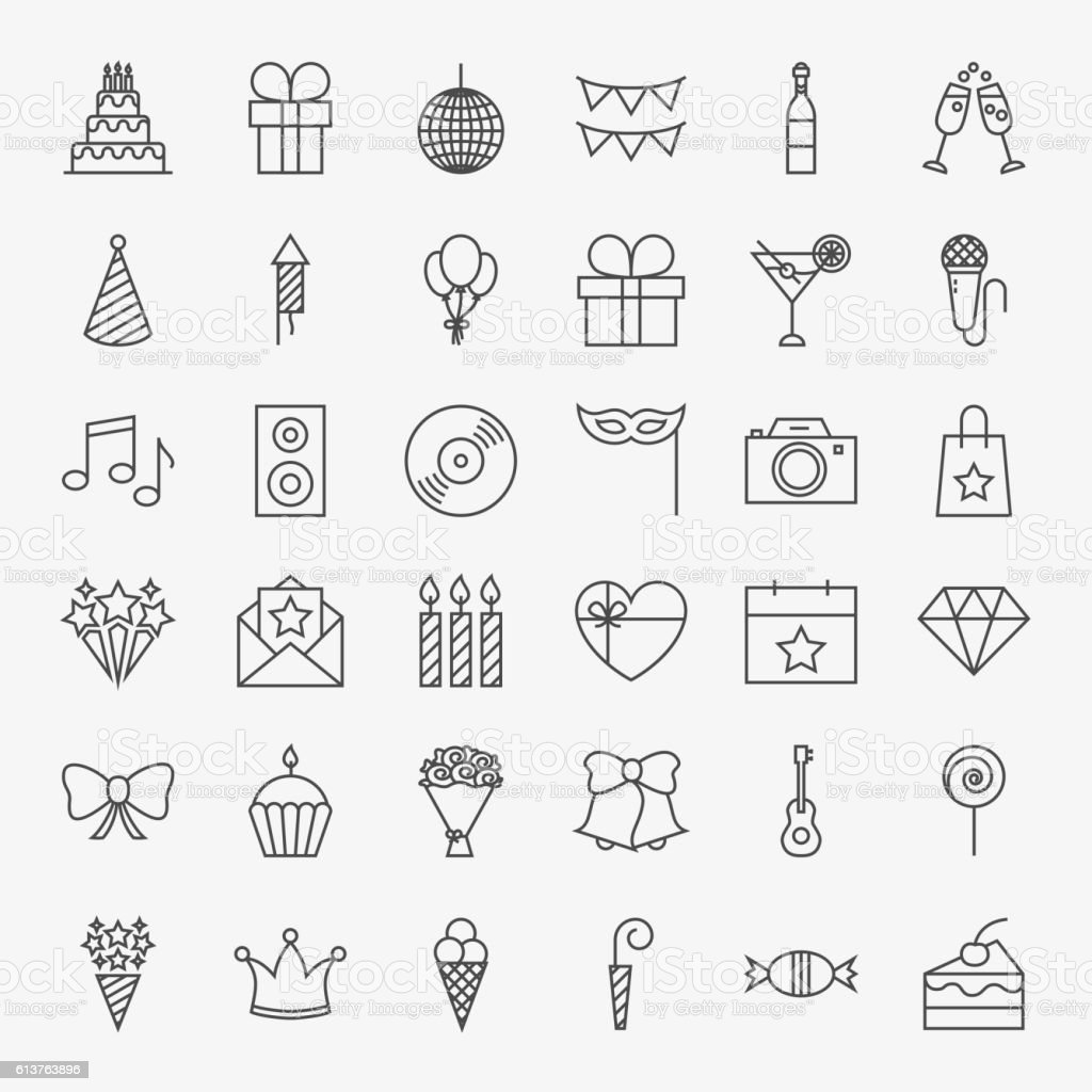 Birthday Line Icons Set vector art illustration