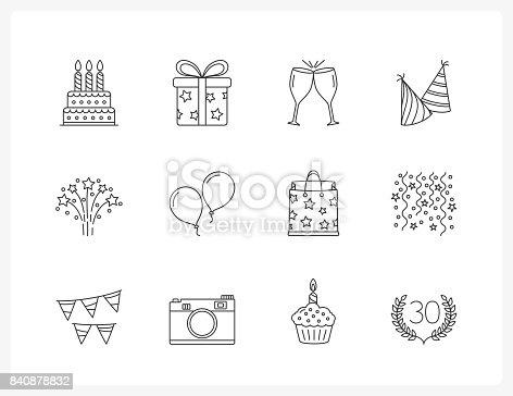 istock Birthday Line Icons 840878832