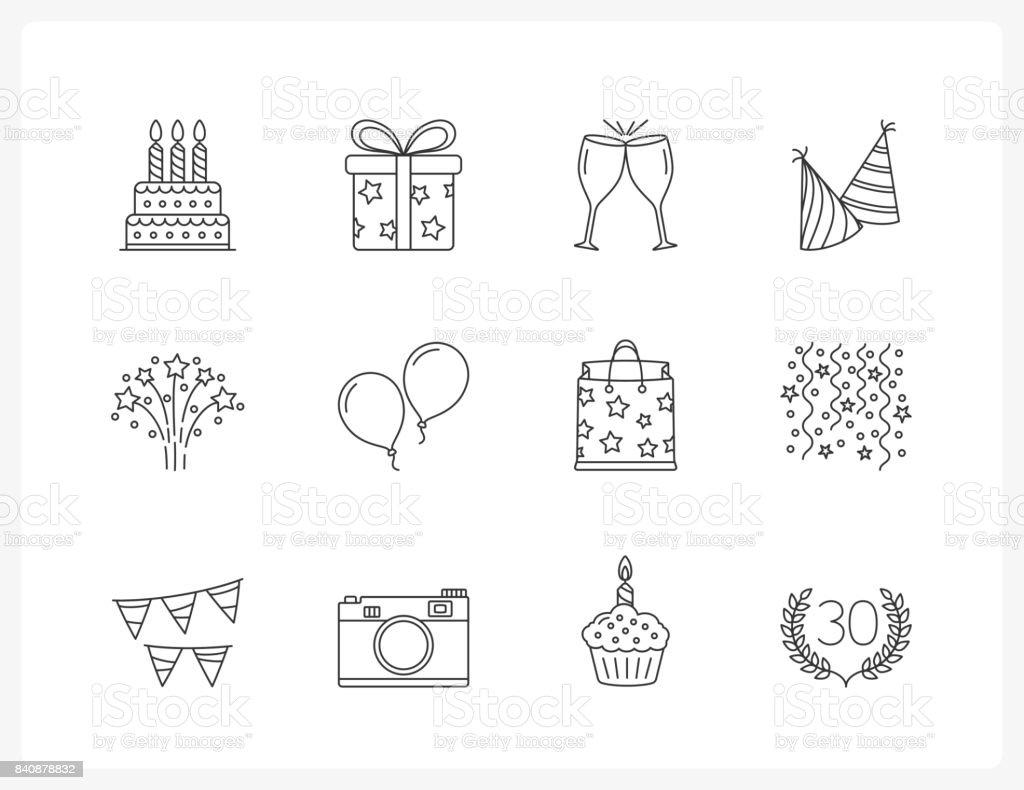Icônes de ligne anniversaire - Illustration vectorielle