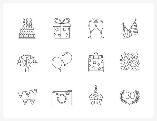 birthday line icons - happy birthday cake stock illustrations, clip art, cartoons, & icons