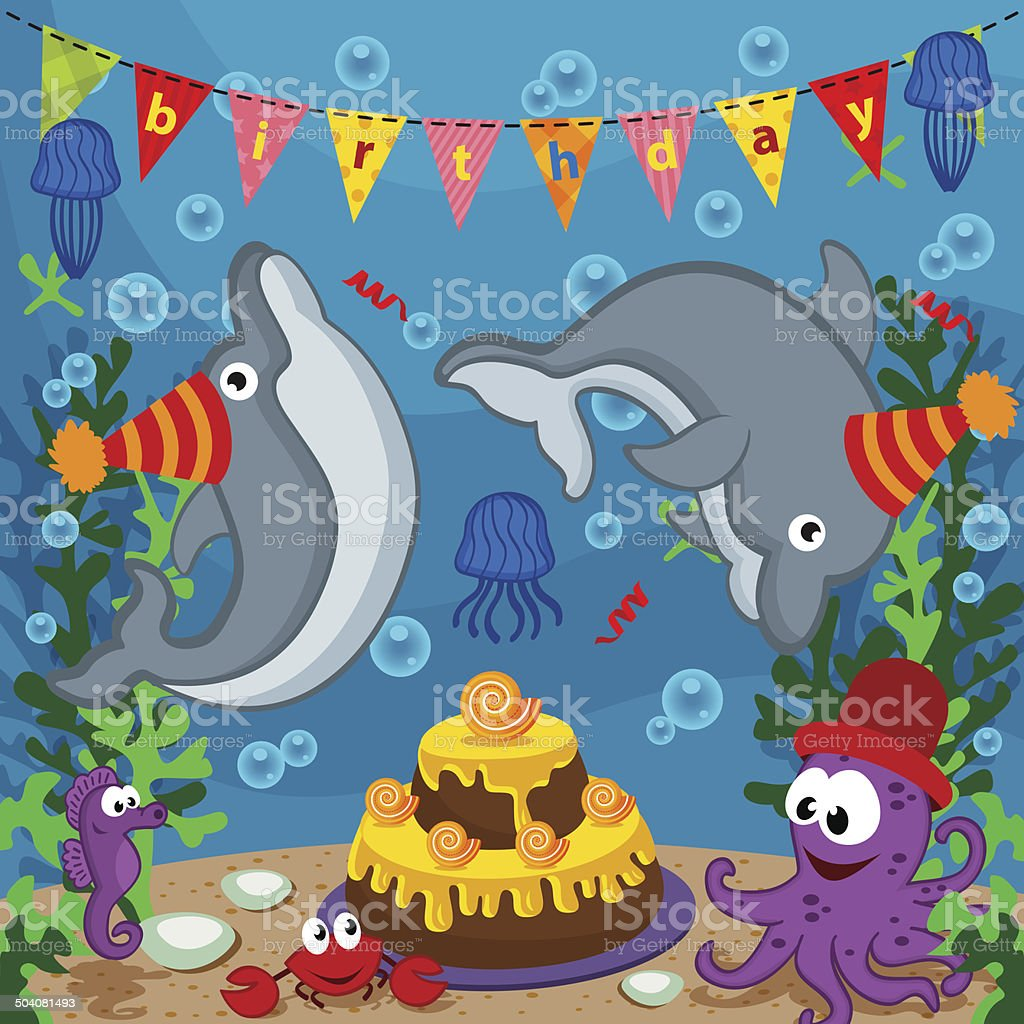 Ilustración de Cumpleaños Animales Marinos y más banco de imágenes ...