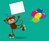Birthday monkey holding a sign and balloons