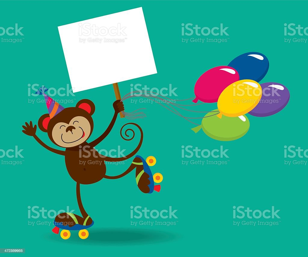 Birthday monkey holding a sign and balloons vector art illustration