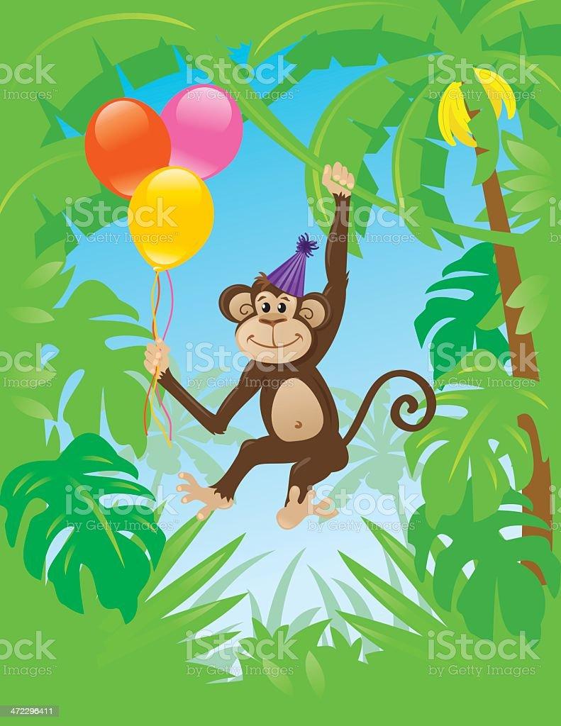 Birthday Monkey royalty-free stock vector art