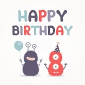 Cute birthday card with monsters