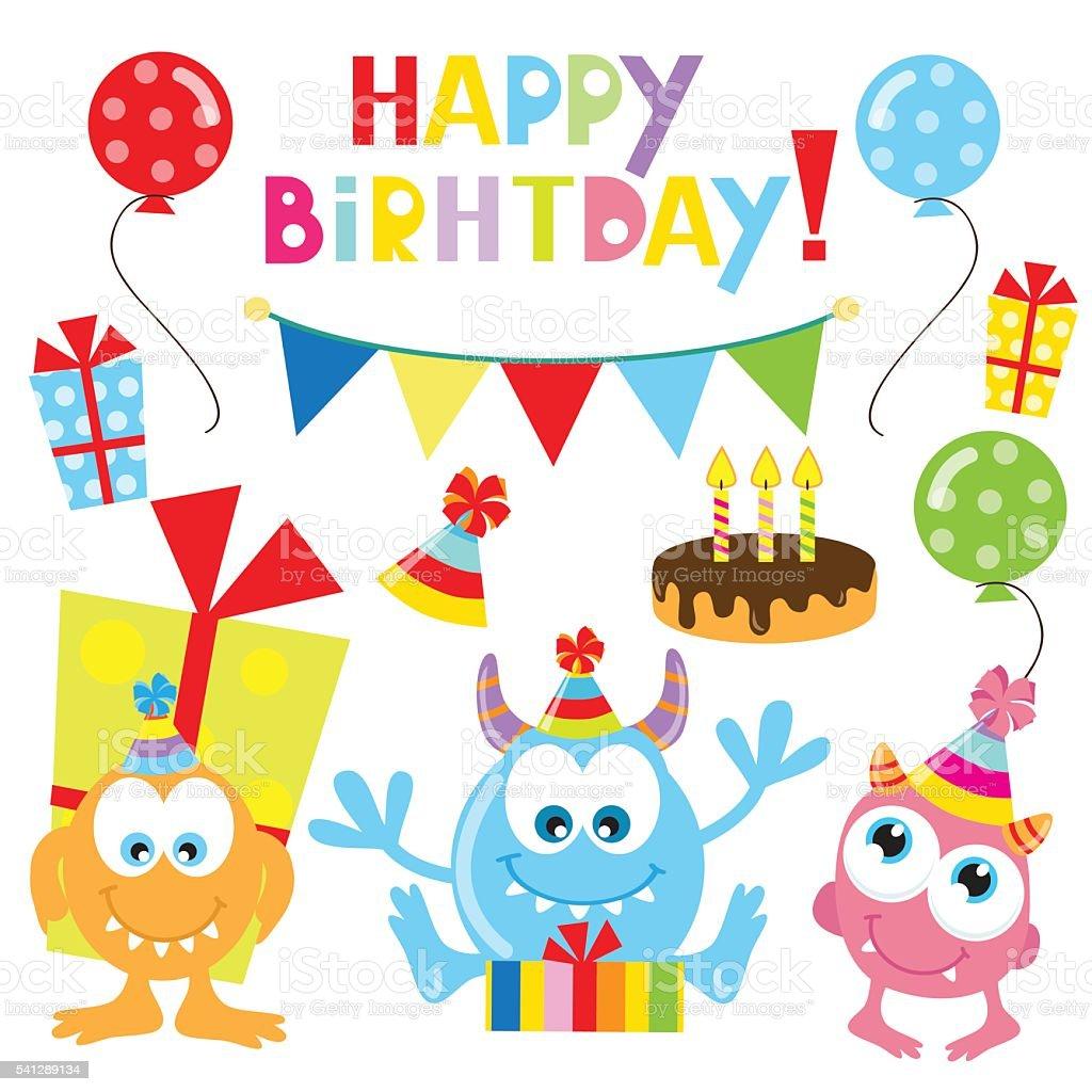 Birthday Monster Party Vector Illustration Stock Vector Art & More ...