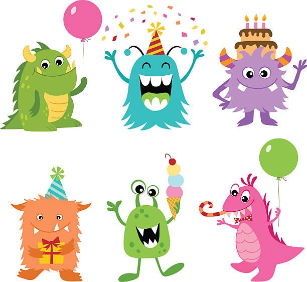 geburtstag monsters - monster stock-grafiken, -clipart, -cartoons und -symbole