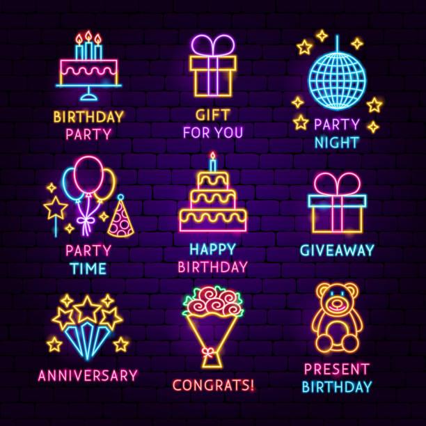 birthday neon label set - anniversary symbols stock illustrations