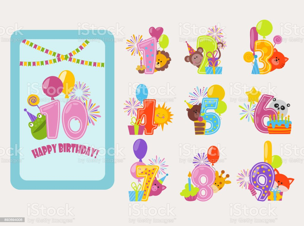 Birthday Numbers Vector Cartoon Anniversary Birth Balloon Numbered Icons Birthdate Party Invitation Card Numeral 1 2 3 4 And 5 Year Numbering Template