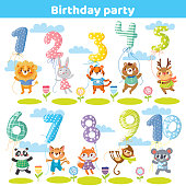Birthday numbers with funny animals for invitation card. Balloons.Vector illustration