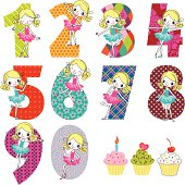 Set of Colorful Numbers for Girl's Birthday.