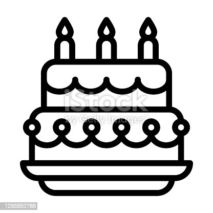 birthday or new born baby related birthday sweet and delicious cake with candle and plate vectors in lineal style,