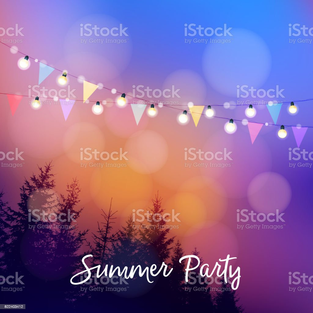 Birthday outdoor summer party or Brazilian june party, Festa junina, invitation. Vector illustration with string of lights, party flags, silhouettes of trees and sunset background vector art illustration