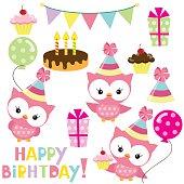 Birthday owls party vector illustration