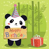 A cute panda with party hat holding birthday greeting board in green bamboo background.