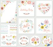 Birthday floral card set with decorative flowers, butterfly, branches, floral wreath and pattern brushes. Good for greeting cards, birthday party invitations, thank you and RSVP cards, posters and many others floral designs. Vector illustration.