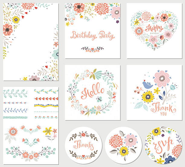 Birthday Parti Floral Set​​vectorkunst illustratie