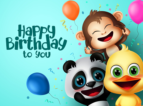 Birthday party animals character vector design. Happy birthday text with friends surprise animal characters and colorful party elements like balloon and confetti for kids celebration greeting card.