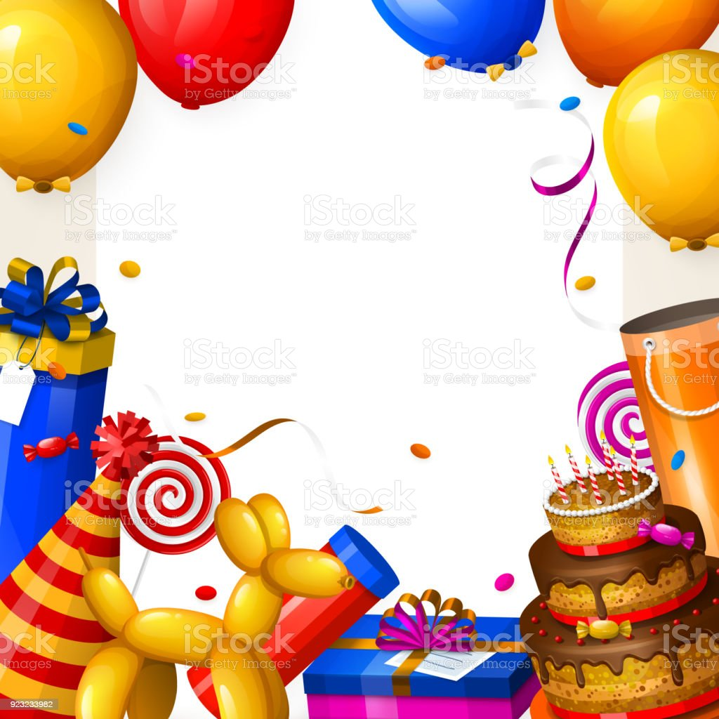 Prime Birthday Party Background With Balloons Cake Gift Boxes Lollipop Funny Birthday Cards Online Alyptdamsfinfo