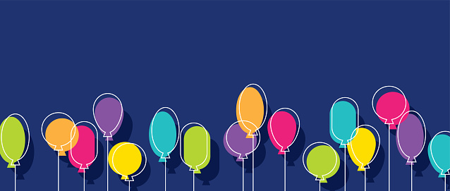 Birthday party colorful balloons on a dark blue background. Horizontal banner for holiday or anniversary celebration, festive, event. Minimalist design.