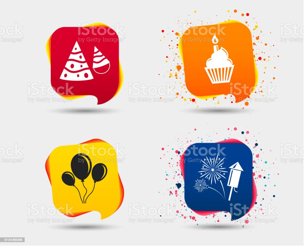 Birthday Party Cake Balloon Hat And Fireworks Stock Vector Art