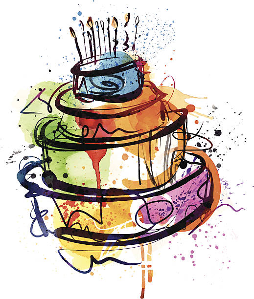 Birthday Party Cake Image shows a birthday cake (watercolor); vectorimage with only one layer, without opening shapes and gradients; big jpeg (350DPI); digital drawing with free wild style; fantasy drawing; better for white backgrounds cake drawings stock illustrations