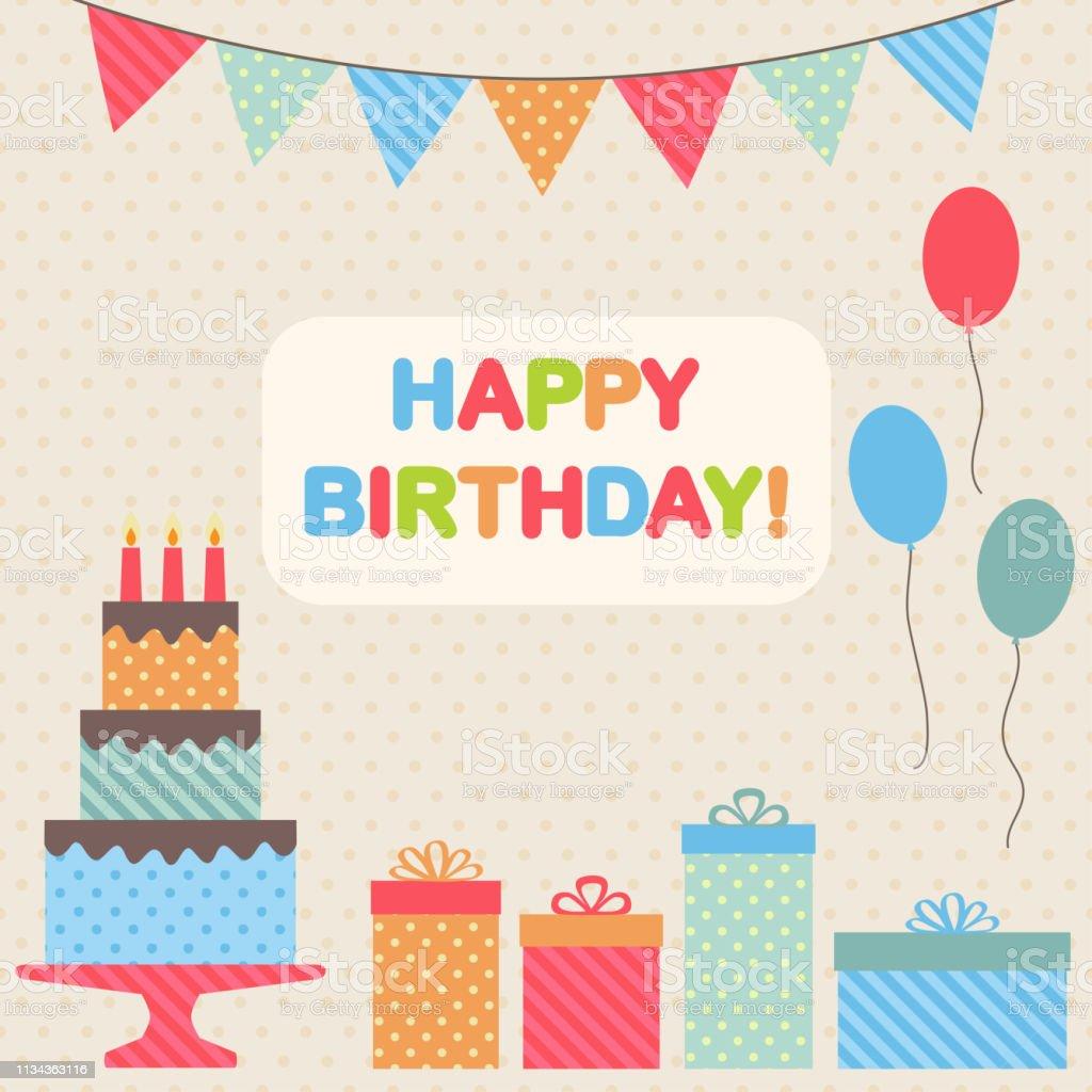 Happy birthday retro card. Vector illustration