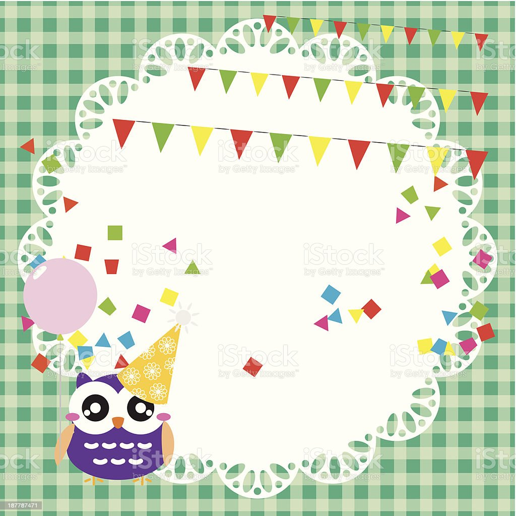 Birthday party card with cute owl royalty-free birthday party card with cute owl stock vector art & more images of animal