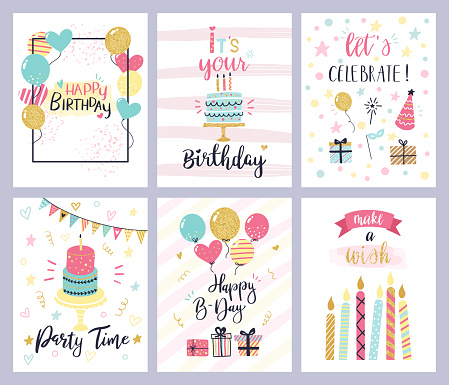 Birthday party cards. happy birthday pastel celebration postcards, invitation with candle, golden baloons and confetti, cake vector set