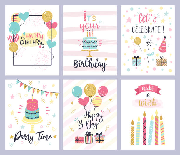 Birthday party cards. happy birthday pastel celebration postcards, invitation with candle, golden baloons and confetti, cake vector set Birthday party cards. happy birthday pastel celebration postcards, invitation with candle, golden balloons and confetti, cake. kids cheerful holiday flyers vector templates happy birthday stock illustrations