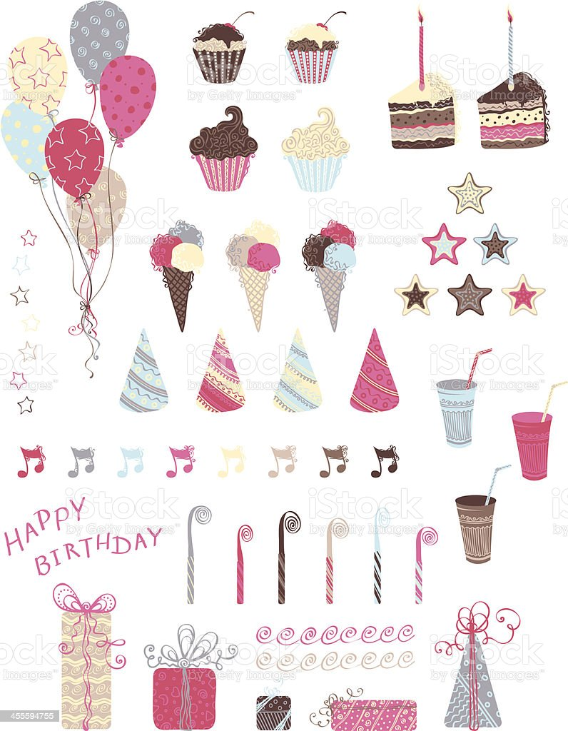 Fête d'anniversaire cliparts - Illustration vectorielle