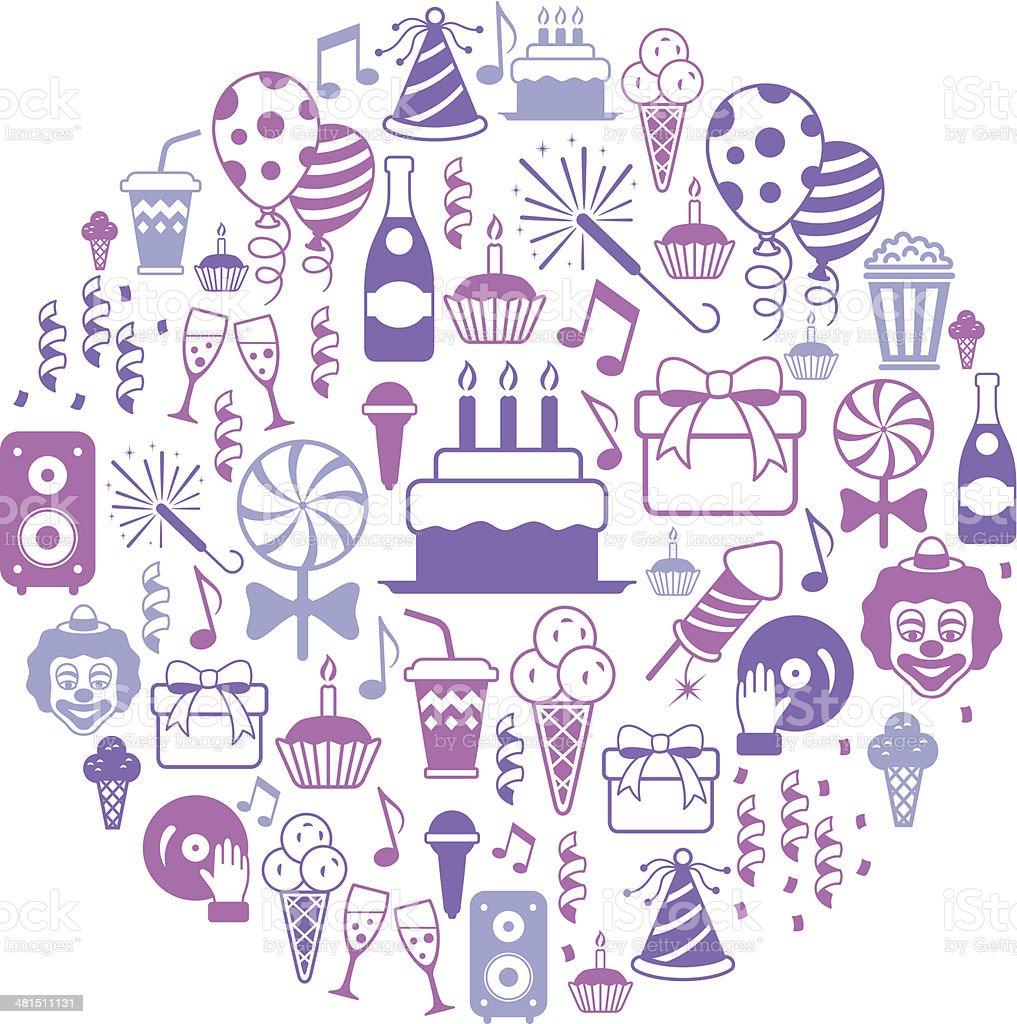 Birthday Party Collage vector art illustration