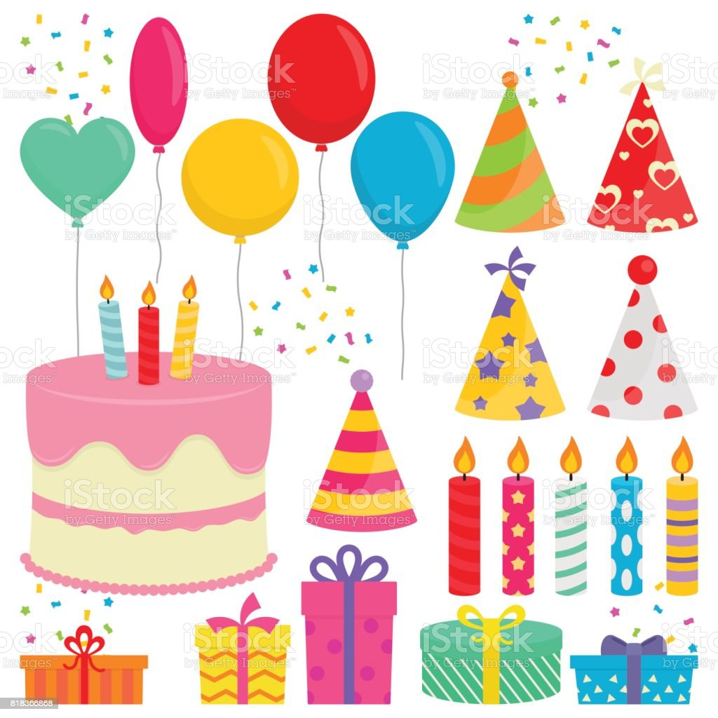 Birthday Party Collection In White Background vector art illustration