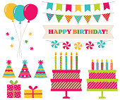 Birthday party collection, isolated vector design elements
