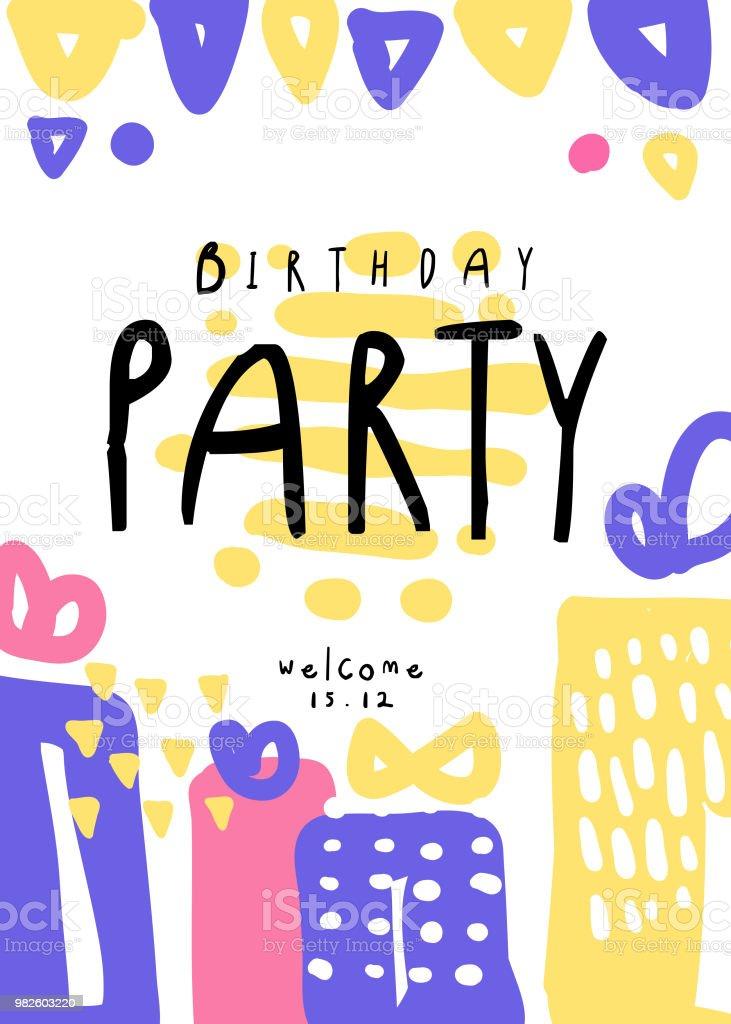 Wonderlijk Verjaardag Party Kleurrijke Sjabloon Met Datum Kan Worden Gebruikt BZ-77
