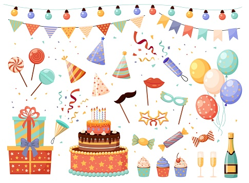 Birthday party decorations. Cartoon holiday elements set. Flags or light garlands. Carnival masks and presents. Crackers with confetti. Bunch of balloons. Vector festive sweet desserts