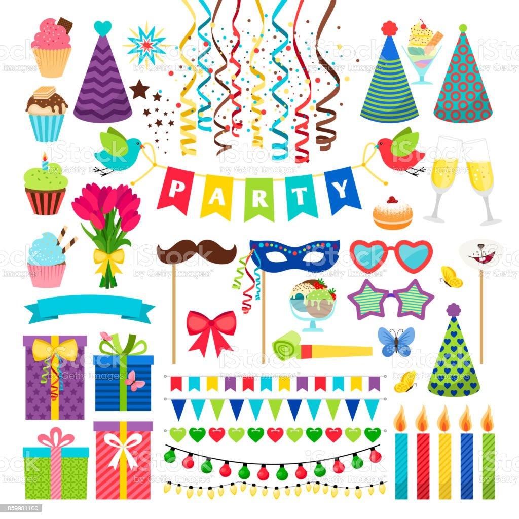 誕生日パーティーのデザイン要素です。白で隔離の誕生日お祝いの招待状の装飾 ベクターアートイラスト