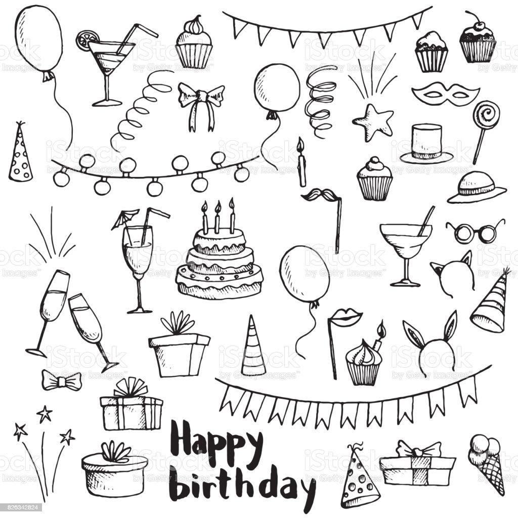 Geburtstagsparty doodle set – Vektorgrafik
