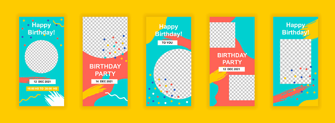 Birthday party editable templates set for Instagram stories. Happy birthday congratulation layout. Bright design for social networks. Insta story mockup