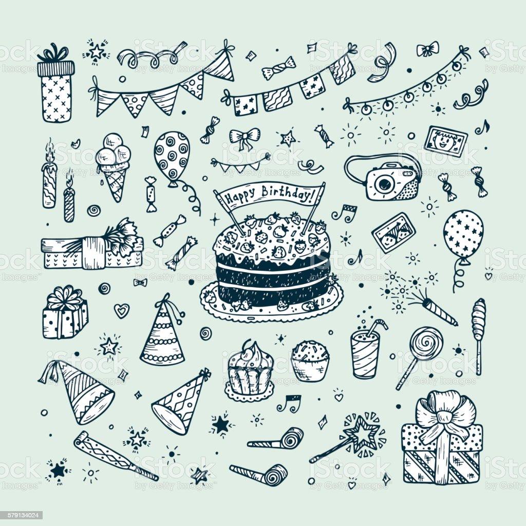 Birthday Party Elements Vector Set Happy Doodle Cake Lizenzfreies