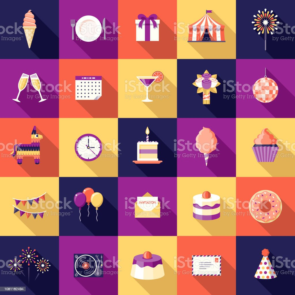 Birthday Party Flat Design Icon Set A flat design styled icon set with a long side shadow. Color swatches are global so it's easy to edit and change the colors. Alcohol - Drink stock vector