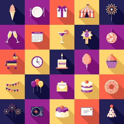 Birthday Party Flat Design Icon Set