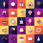 Birthday Party Flat Design Icon Set