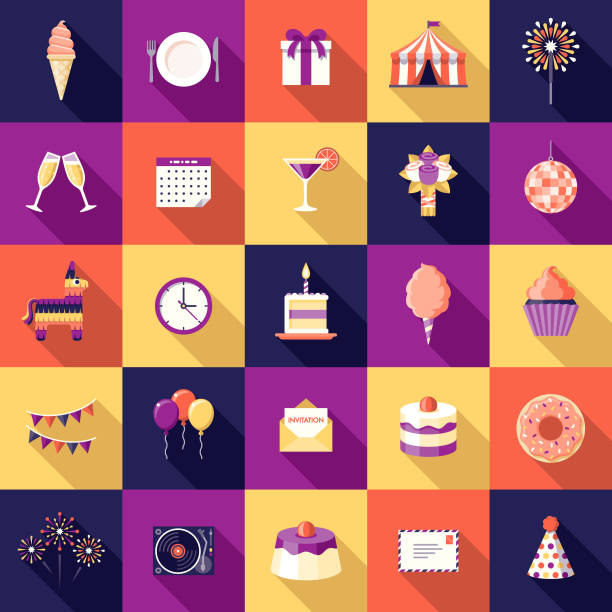 Birthday Party Flat Design Icon Set A flat design styled icon set with a long side shadow. Color swatches are global so it's easy to edit and change the colors. birthday icons stock illustrations