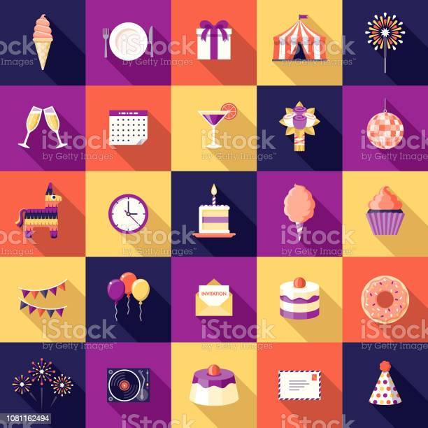 Birthday Party Flat Design Icon Set Stock Illustration - Download Image Now
