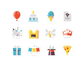 Flat icons series for birthday party including pinata, balloon, cake, gift, fairy, etc.